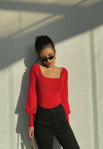 Red Puffed Long Sleeve Top