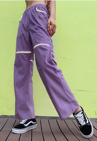 Reflective Corduroy Wide Leg Pants