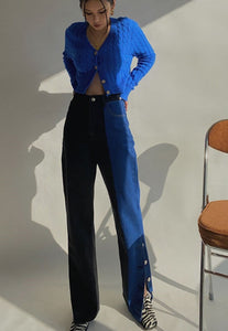 Two Tone Black Blue Cowboy Pants