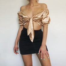 Load image into Gallery viewer, Silk Bow Tie Crop Top - iCaseLeluxe