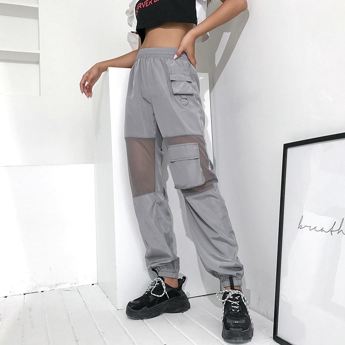 Mesh Patchwork Elastic Joggers - iCaseLeluxe
