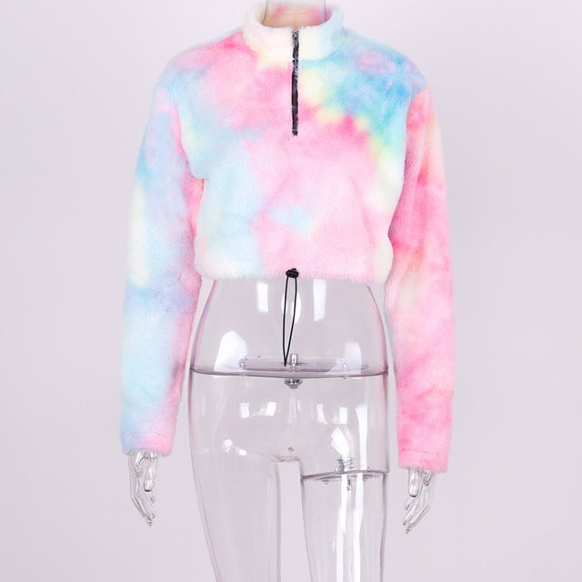Tie Dye Long Sleeve Crop Sweater