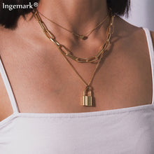 Load image into Gallery viewer, Multi Layer Lock Pendant Choker - iCaseLeluxe