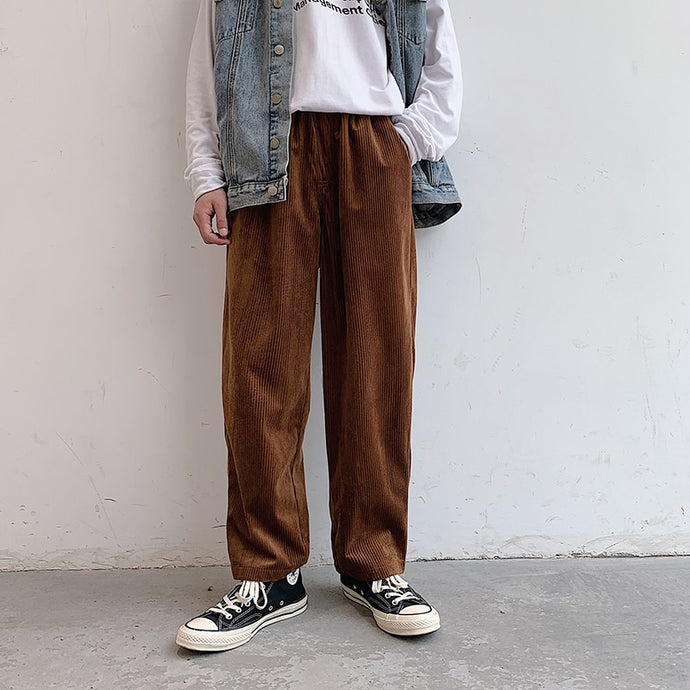 Corduroy Loose Straight Wide Leg Pants