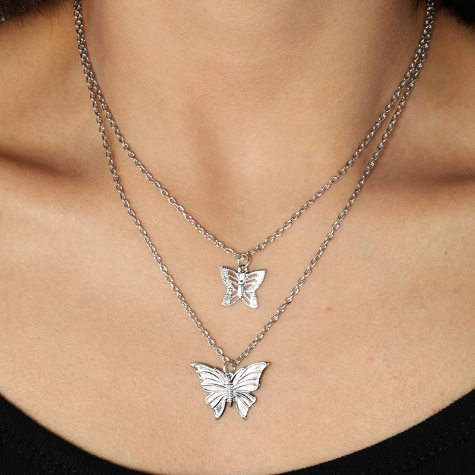 Butterfly Double Chain Necklace - iCaseLeluxe