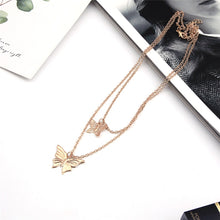 Load image into Gallery viewer, Butterfly Double Chain Necklace - iCaseLeluxe