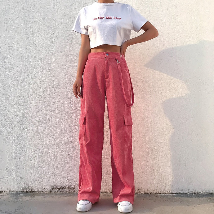 Casual Pink Cargo Pants