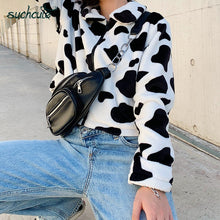Load image into Gallery viewer, Cow Print Teddy Jacket - iCaseLeluxe