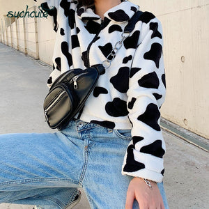 Cow Print Teddy Jacket - iCaseLeluxe