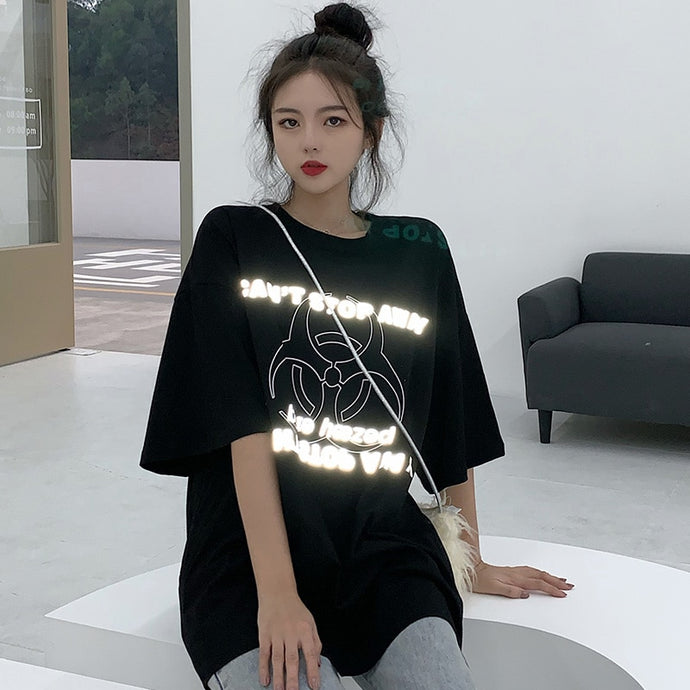 Reflective Print Oversized Graphic Tee Black - iCaseLeluxe