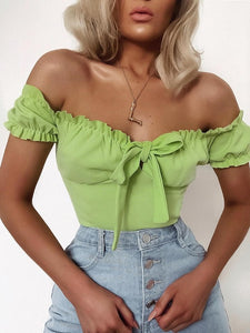 Cropped Ruffled Bow Top - iCaseLeluxe