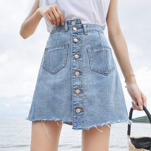 Front Pocket Denim Wrap Mini Skirt - iCaseLeluxe