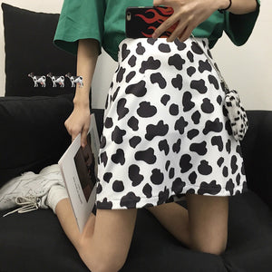 Cute Cow Pattern Printing A-line Mini Skirt - iCaseLeluxe