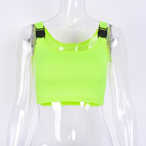 Neon Green Buckle Rave Crop Top - iCaseLeluxe