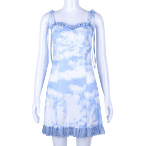 Cloud Print A Line Dress - iCaseLeluxe