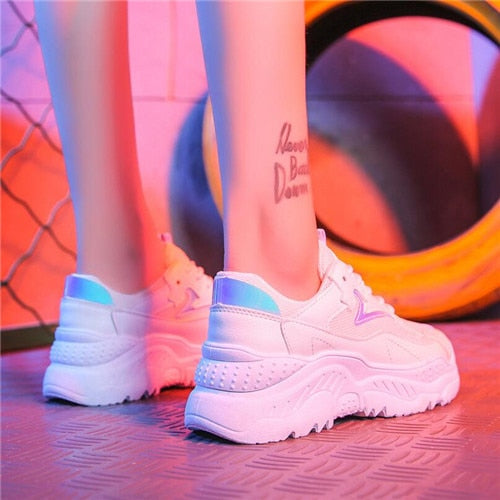 Holographic White Platform Sneakers - iCaseLeluxe