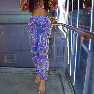 X2 Holo Reflective High Waist Trousers - iCaseLeluxe