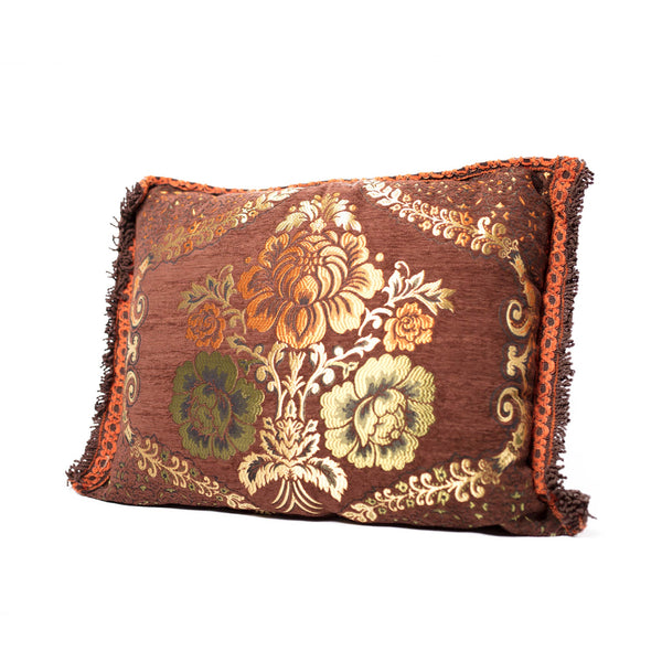 'Brown Floral' Moroccan Cushion
