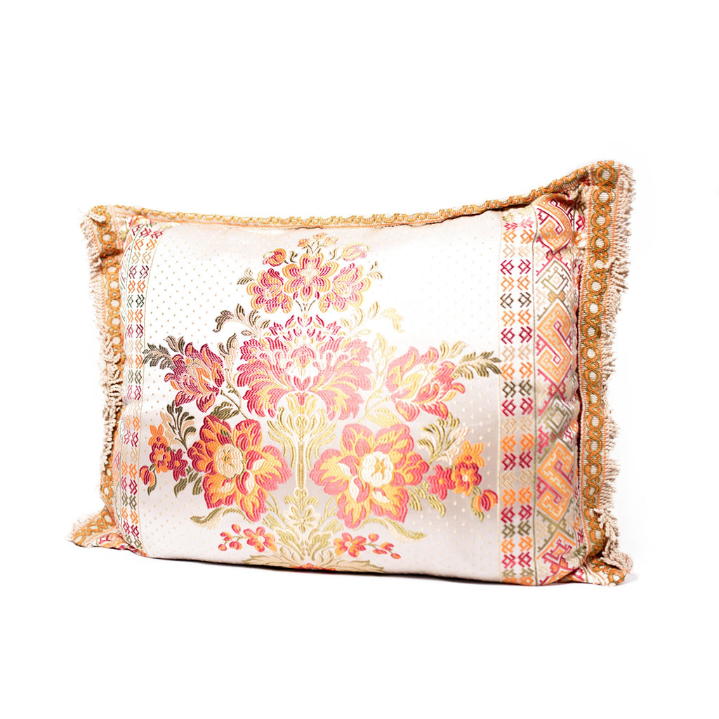 'Creme Floral' Moroccan Cushion