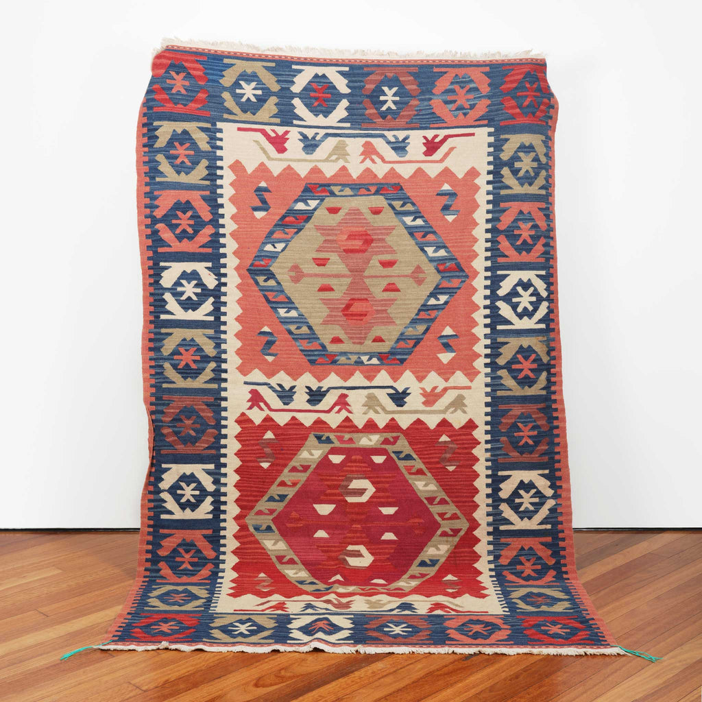 ' Eiras Crest' 2.47 m x 1.54 m Moroccan Kilim - Kahina Collection