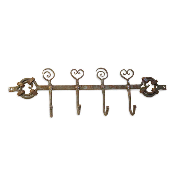 Wrought Iron 4 Hook with Heart Spiral detail