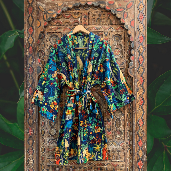 """Frida in the Jungle"" Kimono in Cobolt"
