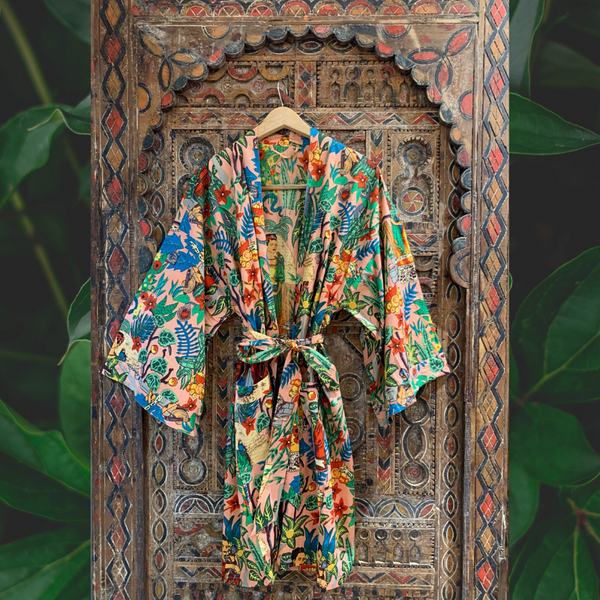 """Frida in the Jungle"" Kimono in Peachy"