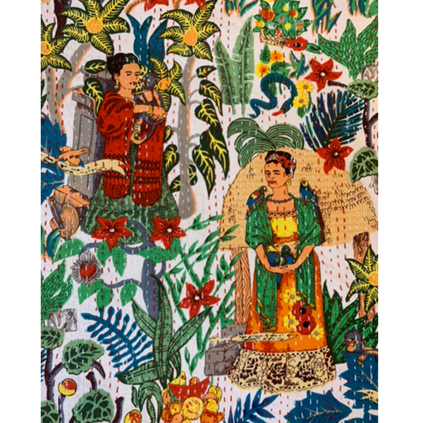 'Frida in the Jungle' Kantha Quilt - Blanco