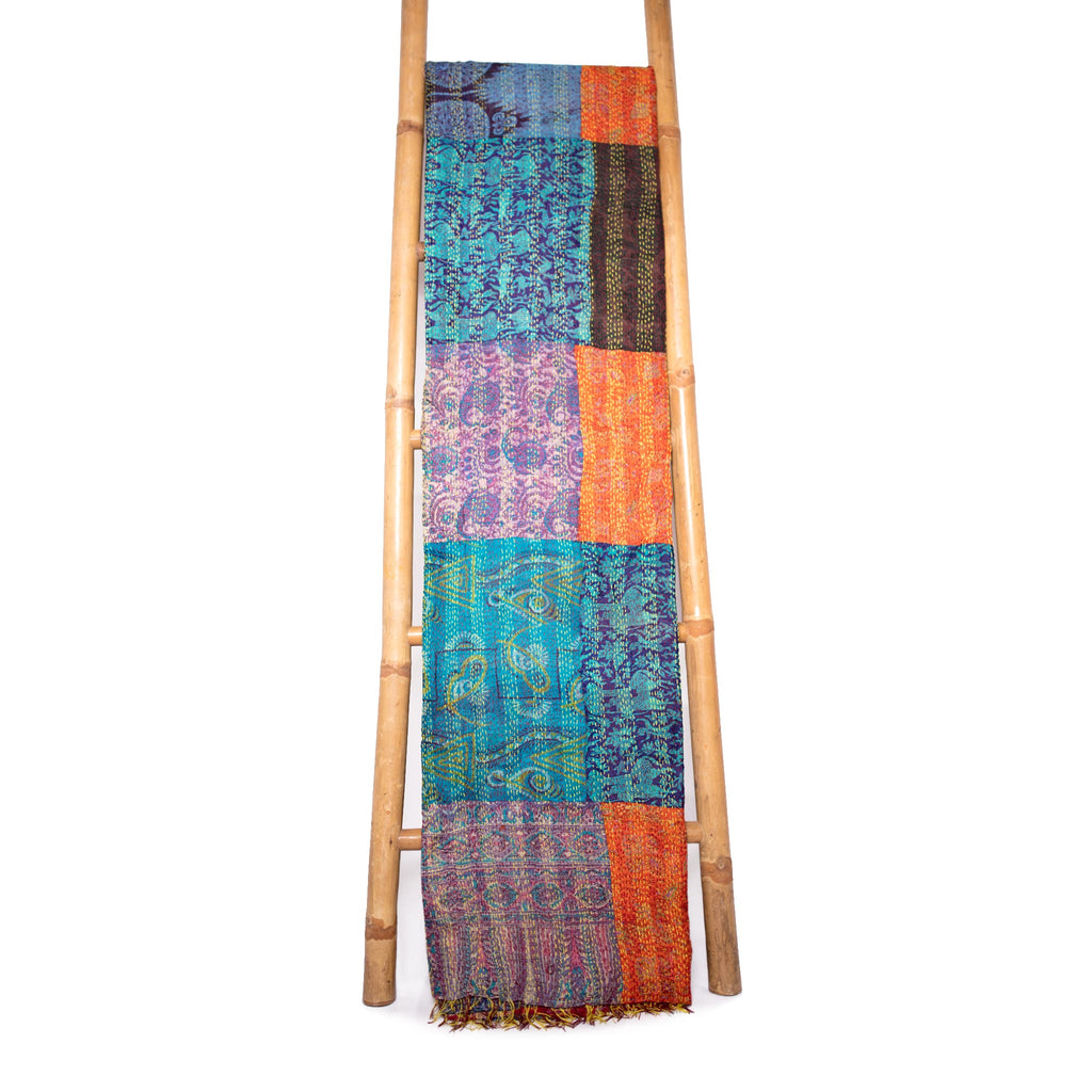 Patola Silk Sari Throw 'Marine'