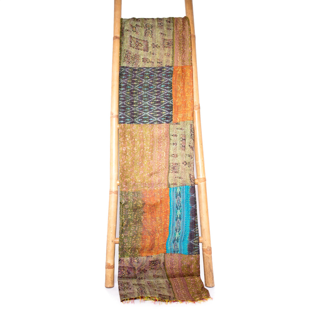 Patola Silk Sari Throw 'Sandy Tide'