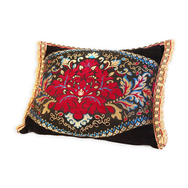 'Black Floral 2' Moroccan Cushion