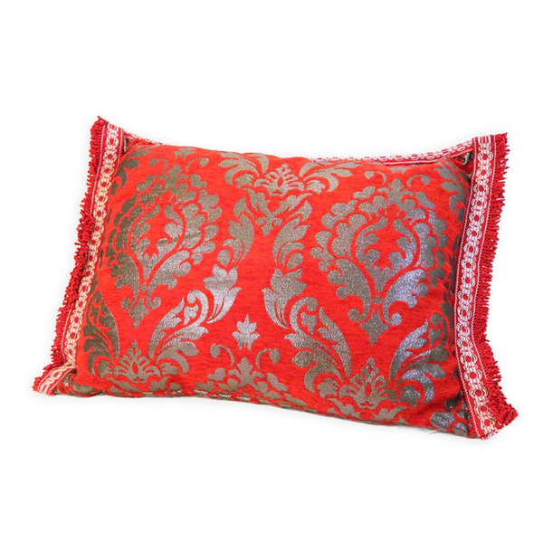 'Red & Silver' Moroccan Cushion