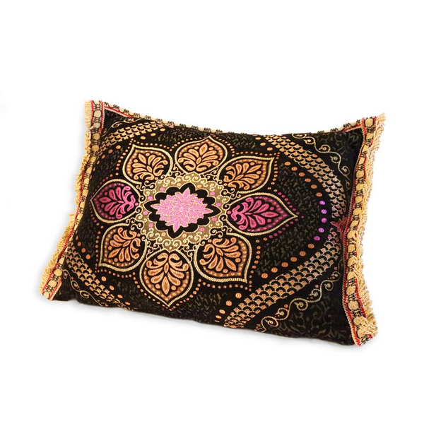 'Black & Floral' Moroccan Cushion