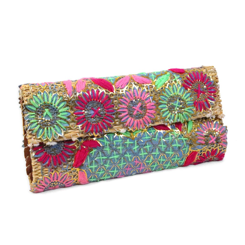 'Pink & Green' Palm Leaf Embroidered Moroccan Clutch