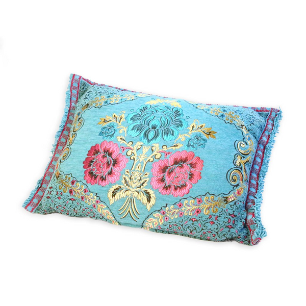 'Blue Floral' Moroccan Cushion