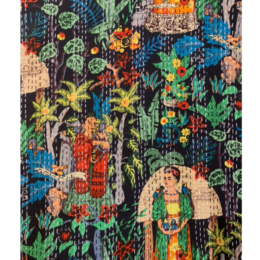 'Frida in the Jungle' Kantha Quilt -Starry Night
