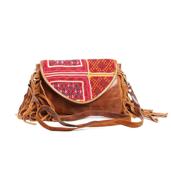 'Chada' Leather and Banjara purse - Sunrise