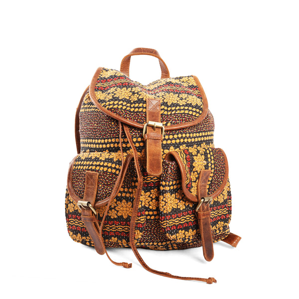 'Mitali Ruck Sack' - Kantha and Leather
