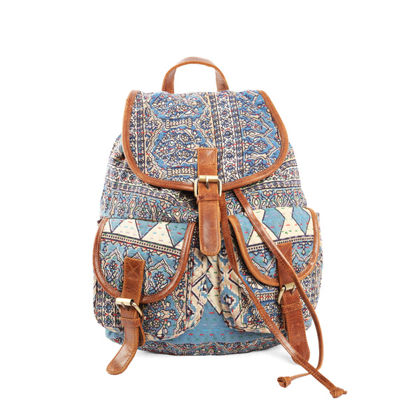 ' Mitali Ruck Sack' - kantha and Leather