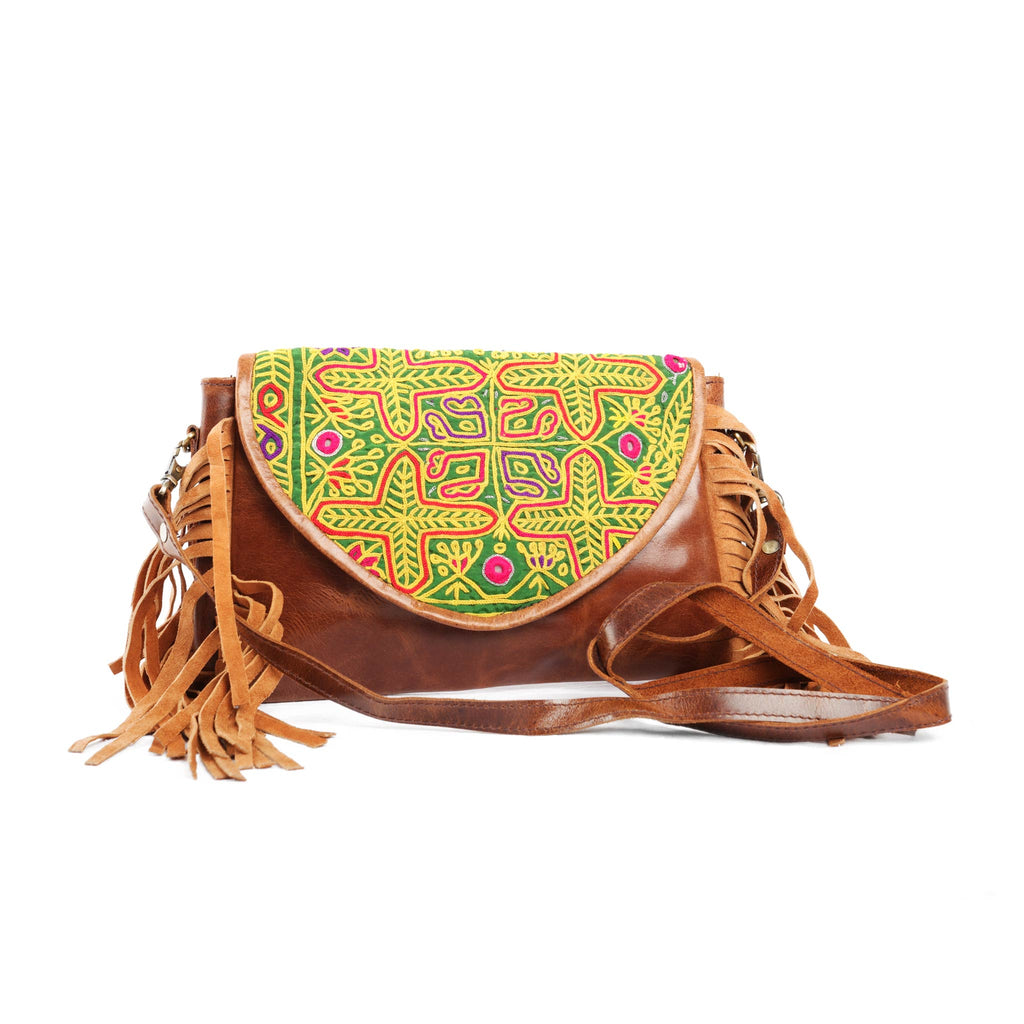 'Chada' Leather and Banjara purse - Pineapple
