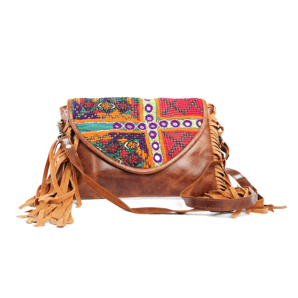 'Chada' Leather and Banjara purse - Calendula
