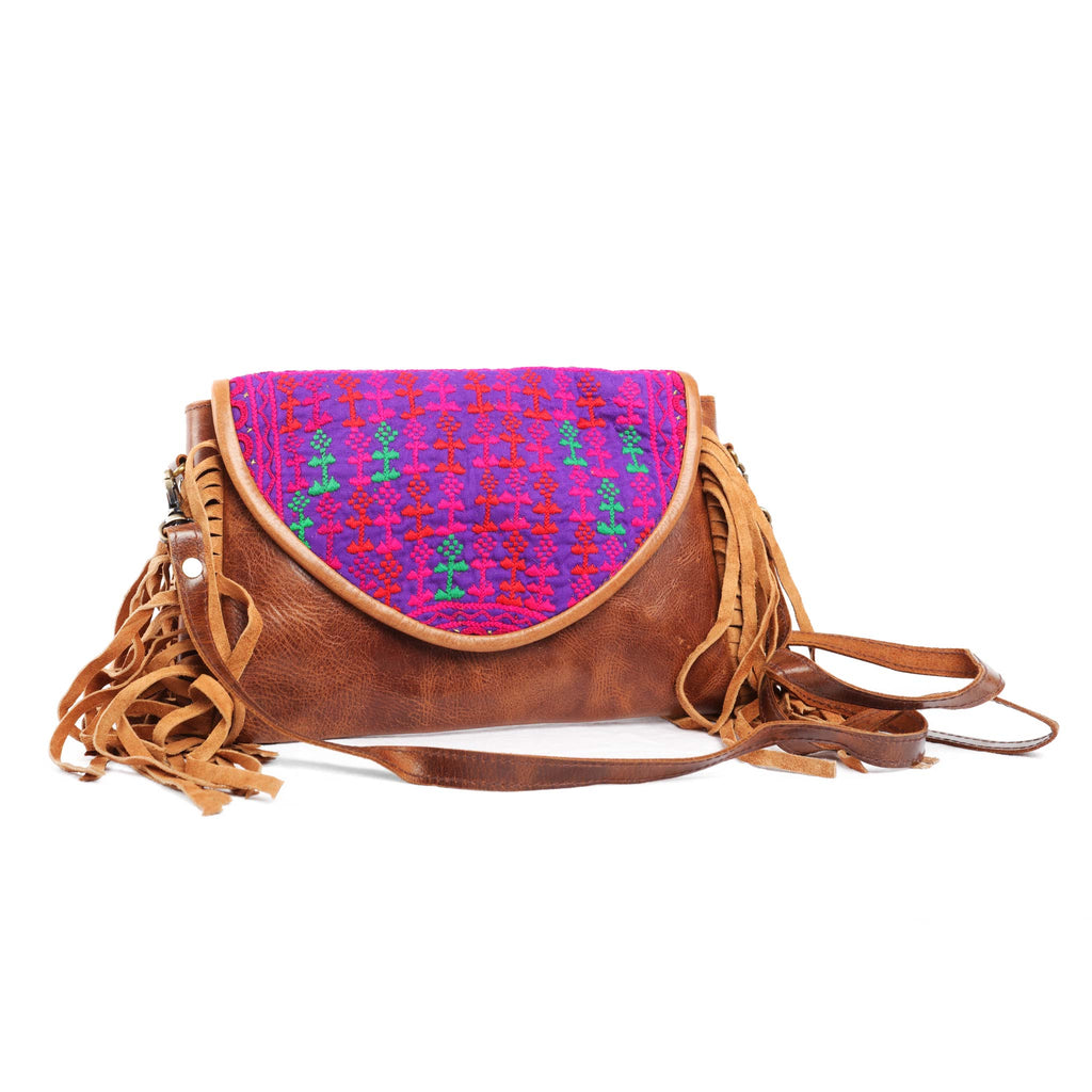 'Chada' Leather and Banjara purse - Shasta
