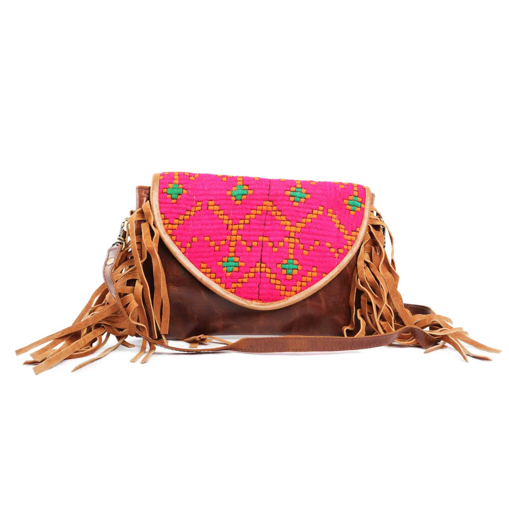 'Chada' Leather and Banjara purse -Dragonfruit