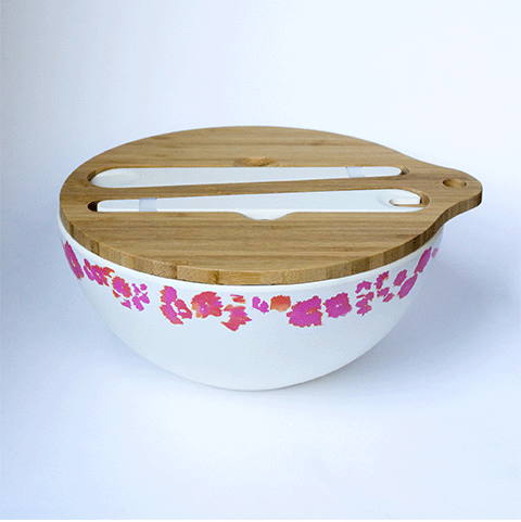 Coral Reef Salad Bowl with Wooden Chopping Board Lip & Servers