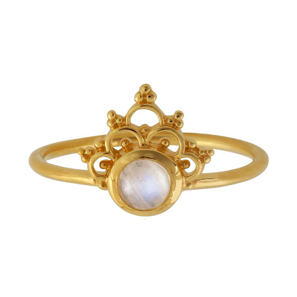 Gold Mystic River Moonstone Ring