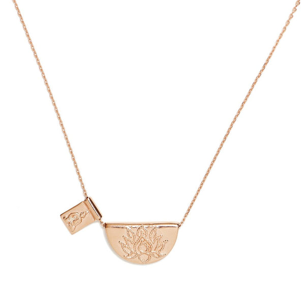 Rose Gold Lotus And Little Buddha Short Necklace