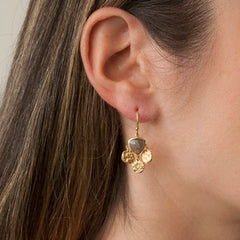 Gold Tri Disc with Labradorite Earrings