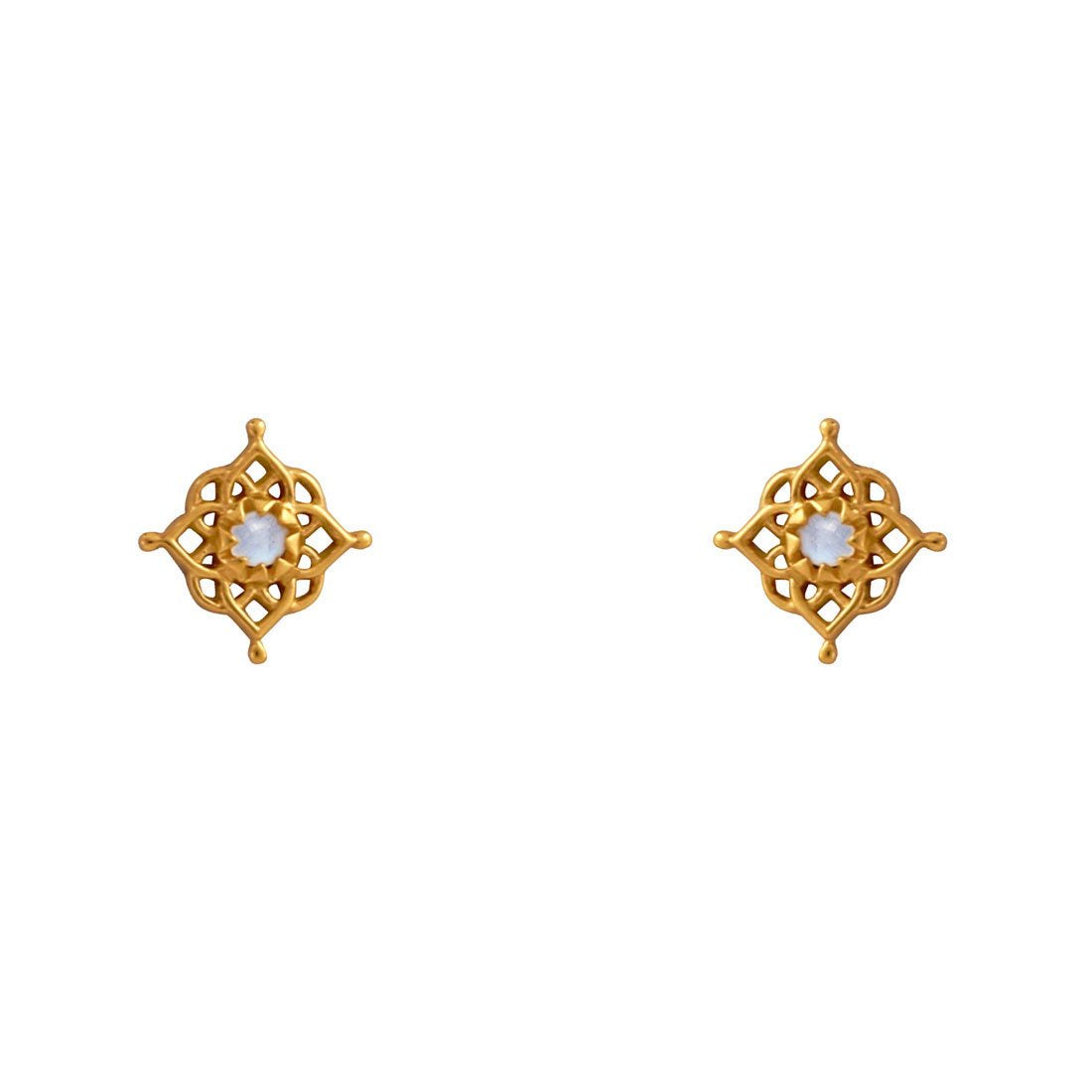 Gold Cosmic Mandala Rainbow Moonstone Studs