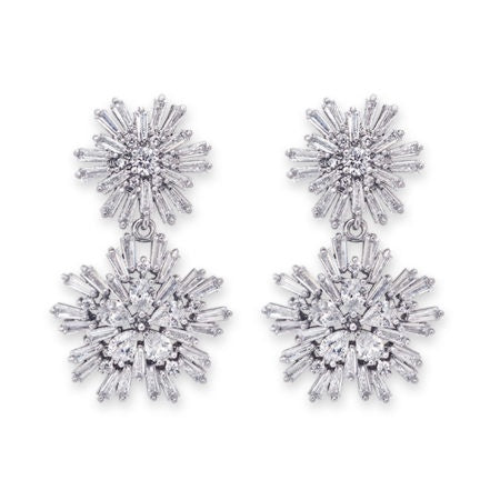 CZ Double Star Flower Earring