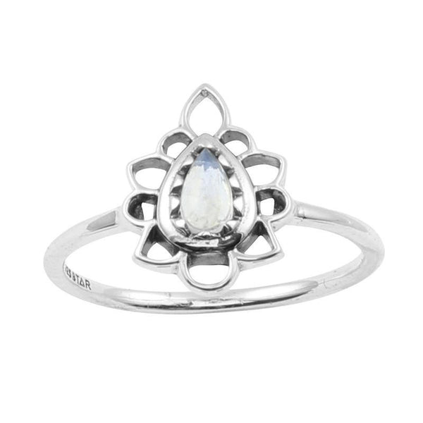 Flames Ring Rainbow Moonstone